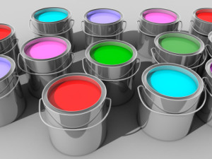 Paint buckets with various colored paint